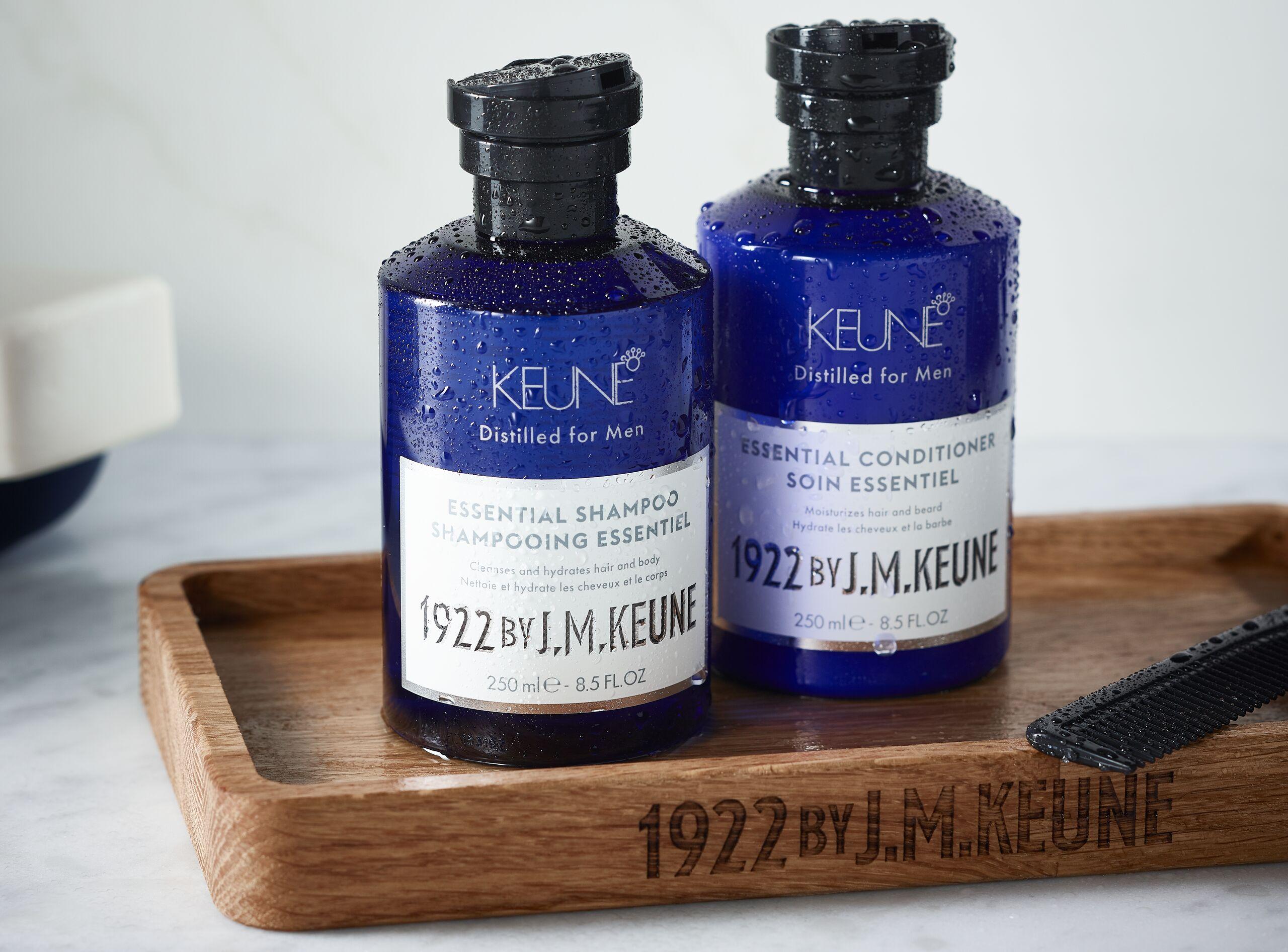 page hero 2560x1893 high-Keune-1922-Essential-shampoo-Conditioner-Group-Lifestyle-API1-1